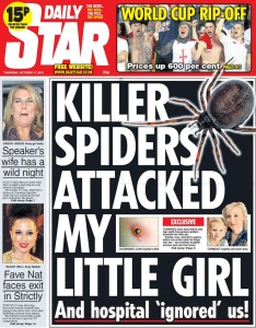 Killer spiders, tabloid cover